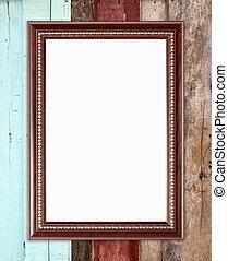cornice, legno, parete, vuoto