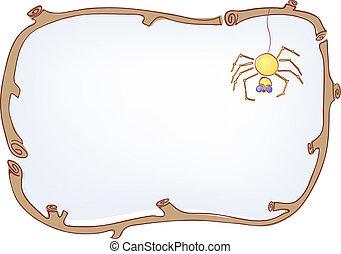 cornice legno, ragno