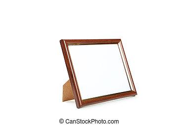 cornice legno, sfondo bianco