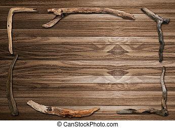 cornice legno, vecchio, bastone, fondo