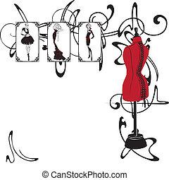 cornice, moda, disegno