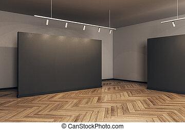 cornice, moderno, galleria, vuoto
