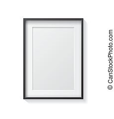 cornice, nero, vuoto, immagine, front., bianco, appendere, realistico, parete