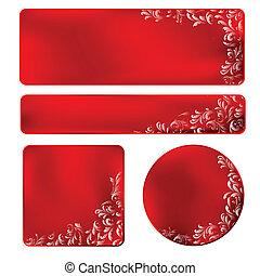 cornice, ornamento, bianco rosso