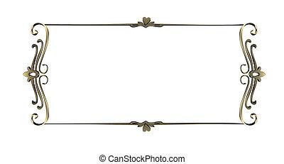 cornice, oro, bordi, isolato, fondo, ornare, bianco