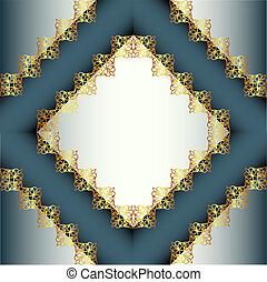 cornice, oro, fondo, ornamento