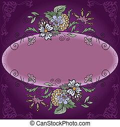 cornice ovale, fiori