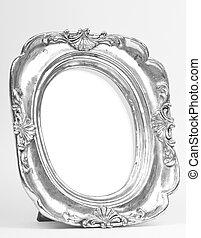 cornice, ovale, immagine, argento