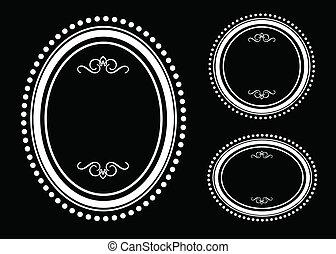 cornice ovale, vettore, set, puntino