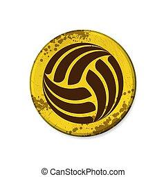 cornice, pallavolo, grunge, cerchio, giallo