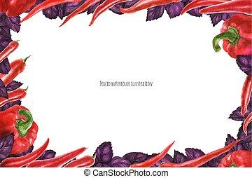 cornice, peperoni, rosso, ans, basilico, paesaggio