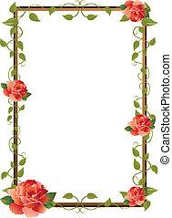 cornice, per, immagine, con, rosa