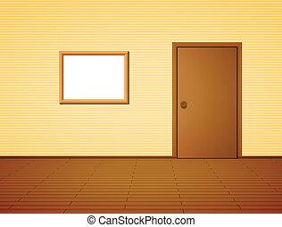 cornice, porta, stanza