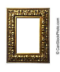 cornice, quadrato, arte, bianco, oro