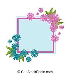 cornice, quadrato, fiori, mette foglie