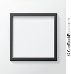 cornice, quadrato, nero, vuoto, immagine, front., bianco, appendere, realistico, parete