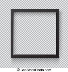 cornice, quadrato, nero, vuoto, immagine, front., foto, appendere, realistico, parete