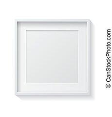 cornice, quadrato, vuoto, immagine, front., bianco, appendere, realistico, parete