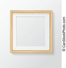 cornice, quadrato, vuoto, immagine, front., bianco, legno, appendere, realistico, luce, parete