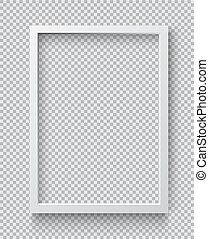 cornice, quadrato, vuoto, immagine, front., foto, bianco, appendere, realistico, parete