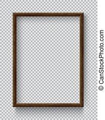 cornice, quadrato, vuoto, immagine, front., foto, legno, appendere, realistico, parete