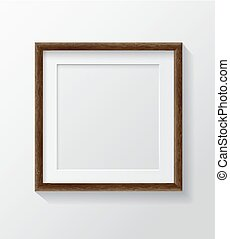 cornice, quadrato, vuoto, immagine, front., scuro, bianco, legno, appendere, realistico, parete