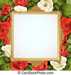 cornice, rose, dorato