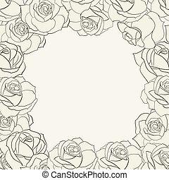 cornice, roses.