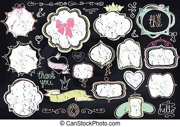 cornice, scarabocchiare, element., tesserati magnetici, etichette, amore, decorazione, set., lavagna