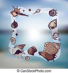 cornice, seashells.