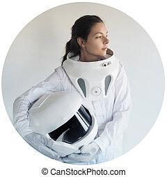 cornice, senza, astronauta, casco, fondo, bianco, futuristico, circolare
