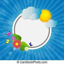 cornice, soleggiato, illustrazione, vettore, fondo, baluginante