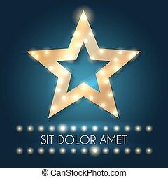cornice stella, illustrazione, luci, vettore, retro, hollywood, messaggio