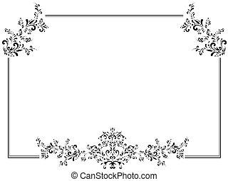 cornice, vendemmia, illustrazione, floreale