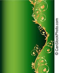 cornice, verde, verticale, floreale