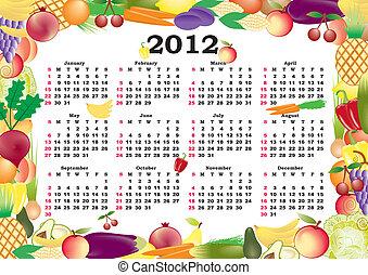 cornice, vettore, calendario, colorito, 2012