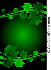cornice, vettore, congedi verdi