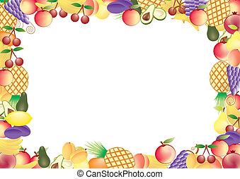 cornice, vettore, frutte