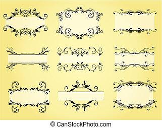 cornice, vettore, ornamento, ornare