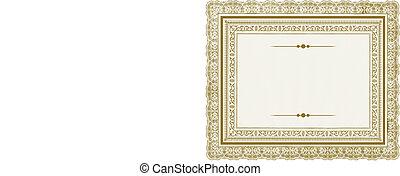 cornice, vettore, oro, ornare