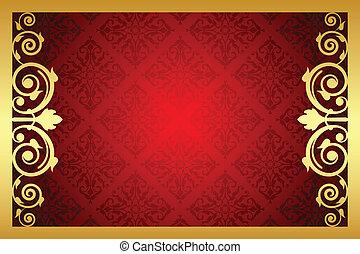 cornice, vettore, reale, rosso, oro