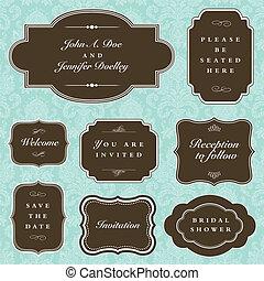 cornice, vettore, set, matrimonio