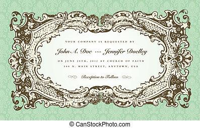 cornice, vettore, vittoriano, invito, matrimonio