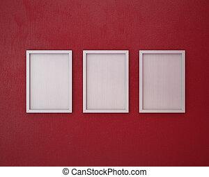 cornice, vuoto, 3, rosso, wall.