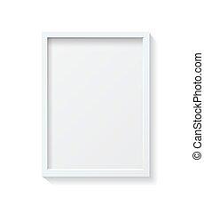 cornice, vuoto, immagine, front., bianco, appendere, realistico, parete