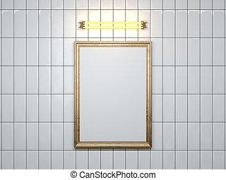 cornice, wall., interpretazione, lampada, vuoto, 3d