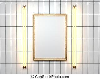 cornice, wall., interpretazione, lampada, vuoto, bianco, 3d