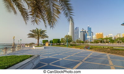 Corniche boulevard beach park along the coastline in Abu...