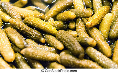 Close up of a freshly pickled cornichons
