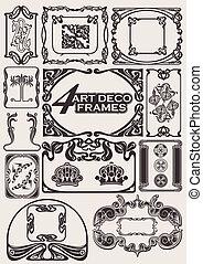 cornici, antico, stile, set, art-deco